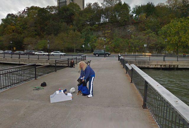 Il se passe de drôles de choses sur les rives de l'Hudson - crédits Google Maps