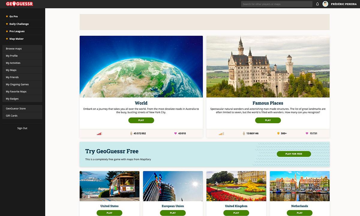 La page d'accueil de Geoguessr
