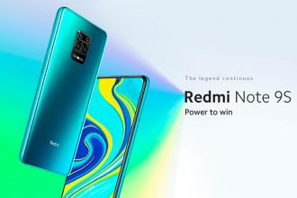 Le Redmi Note 9S en version bleue/verte