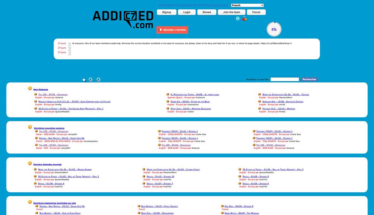 La page d'accueil du site de la Team Addic7ed