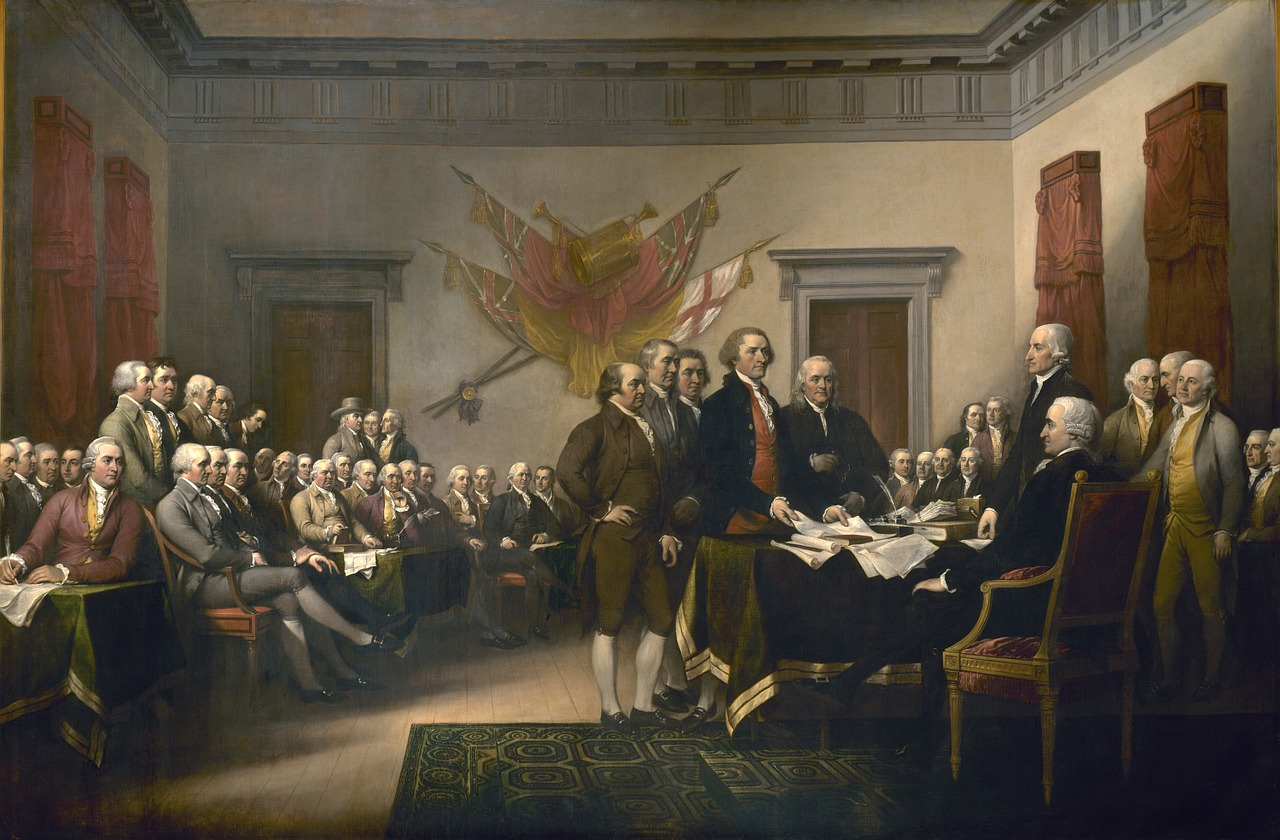 Un tableau illustrant la déclaration d'indépendance des Etats-Unis