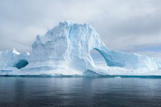 Une photo des iceberg de l'Antarctique
