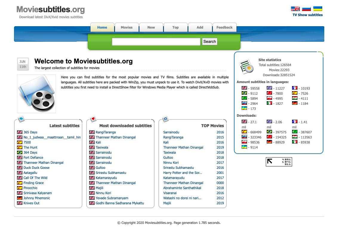 La page d'accueil du site MovieSubtitles