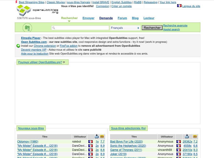 La page d'accueil du site OpenSubtitles