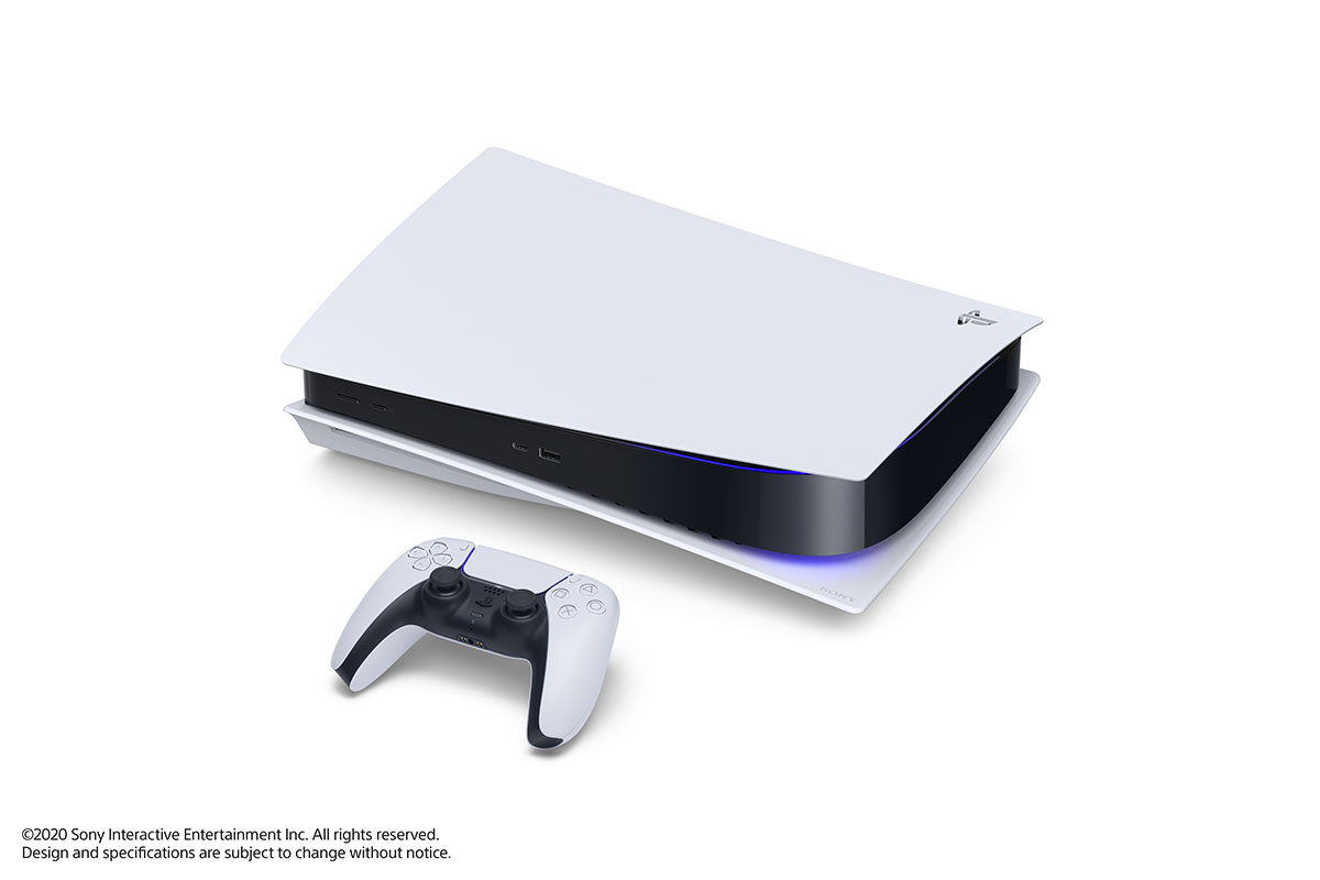 La PlayStation 5 couchée à l'horizontale