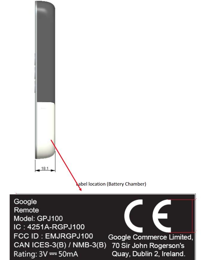 La télécommande du Chromecast vue de côté