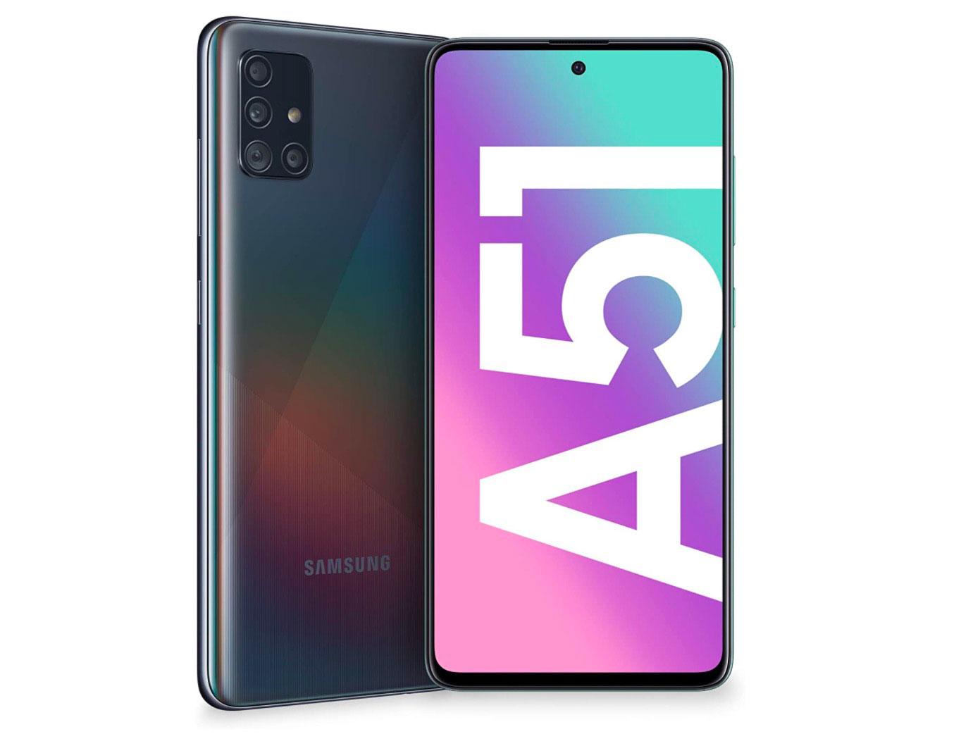 Le Galaxy A51 de face et de dos