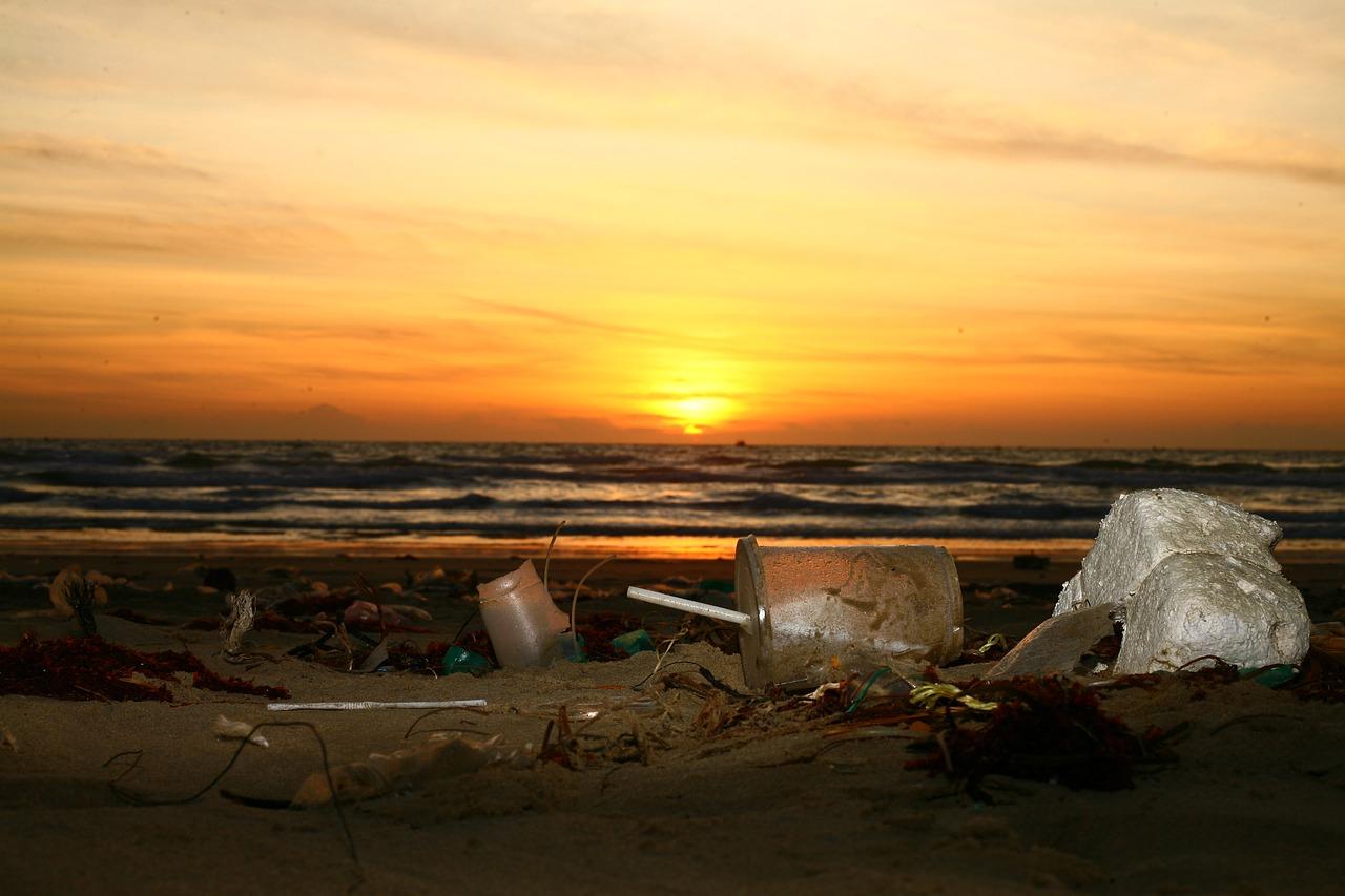 Une plage polluée par des déchets plastiques