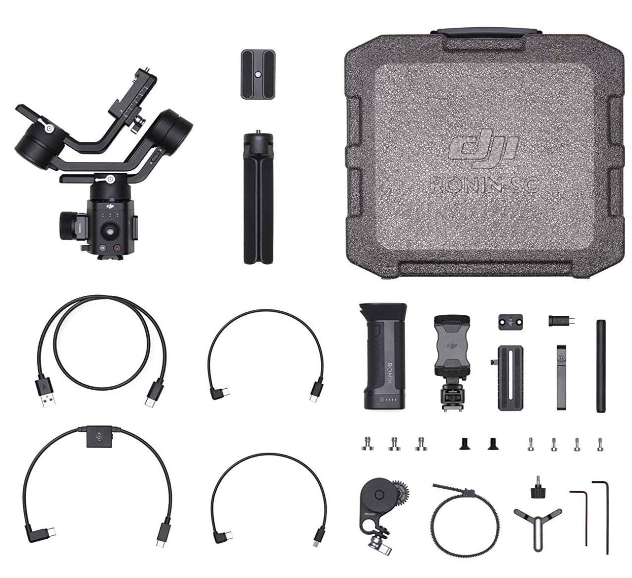 Le DJI Ronin SC et tous les accessoires vendus dans le pack combo