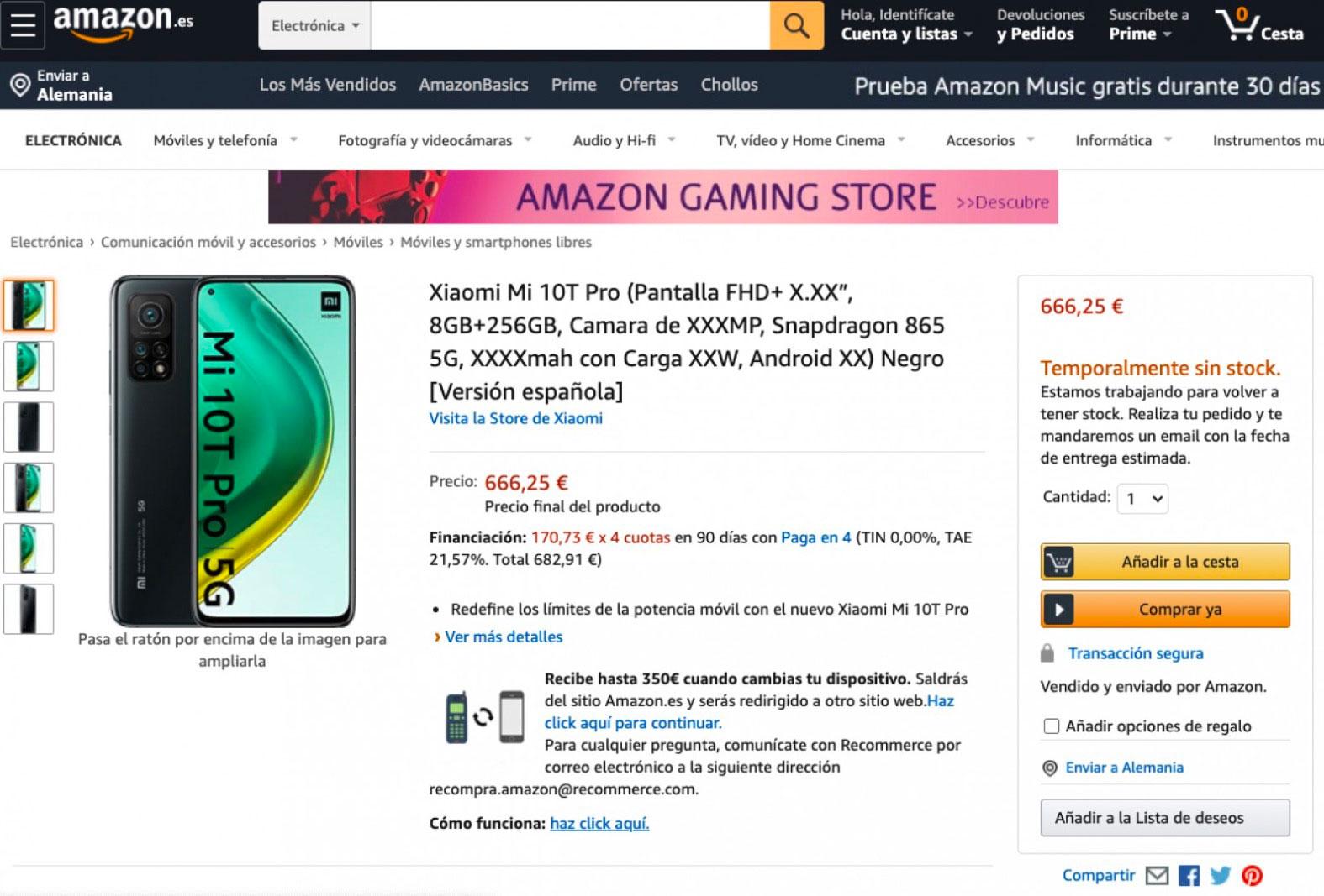 Oups, les Xiaomi Mi 10T ont fuité chez Amazon Espagne