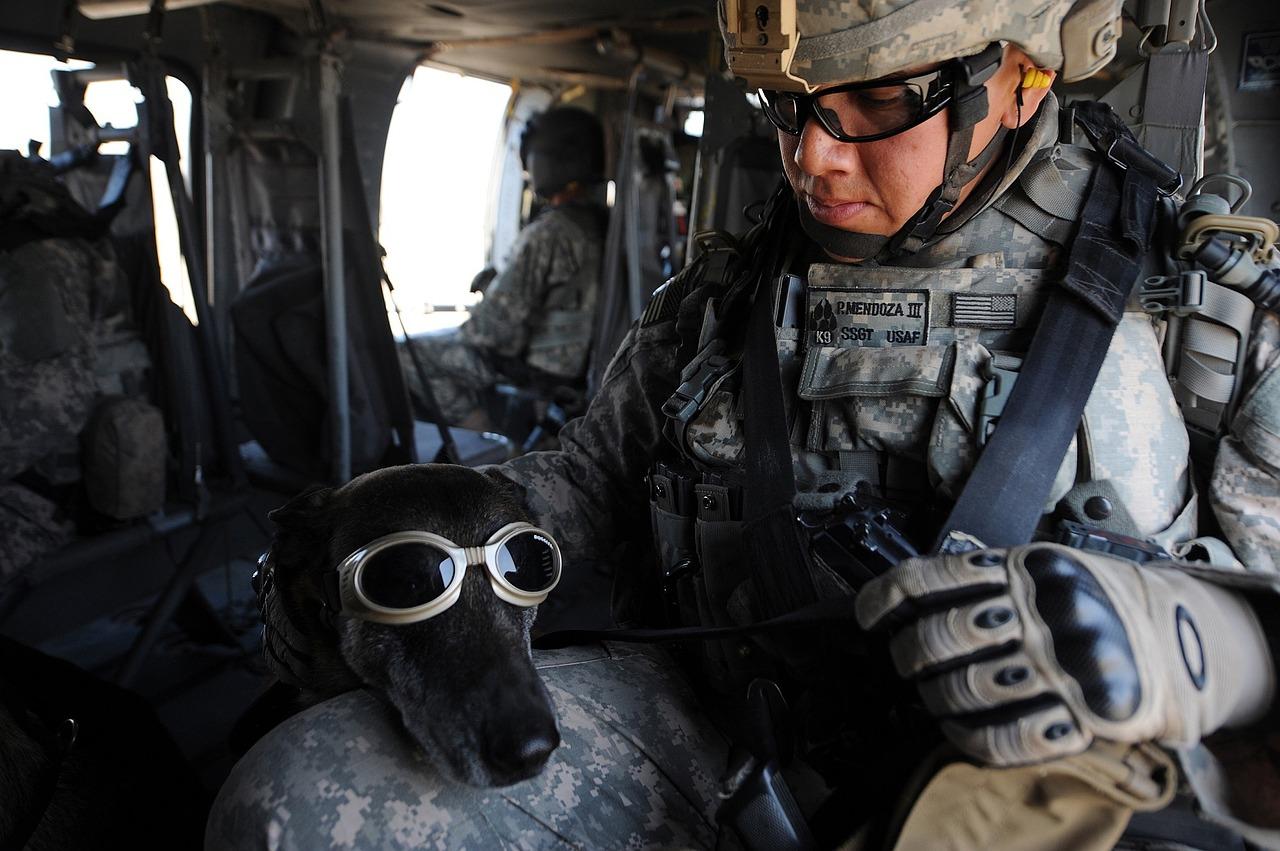 Un soldat américain et son chien