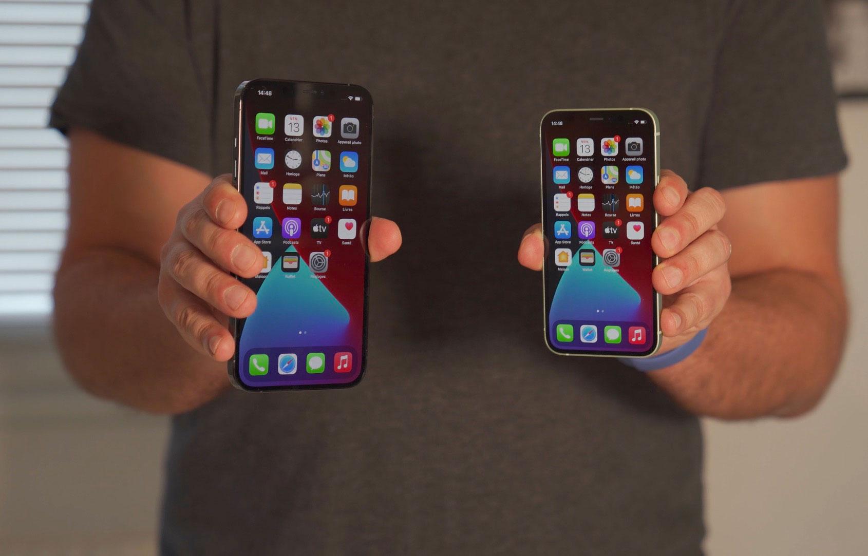 L'iPhone 12 Pro Max aux côtés de l'iPhone 12 Mini, une différence de taille