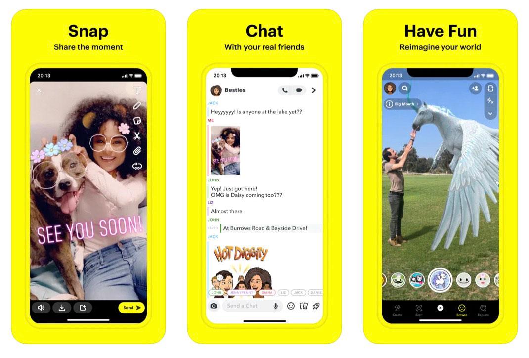 Des captures de Snapchat