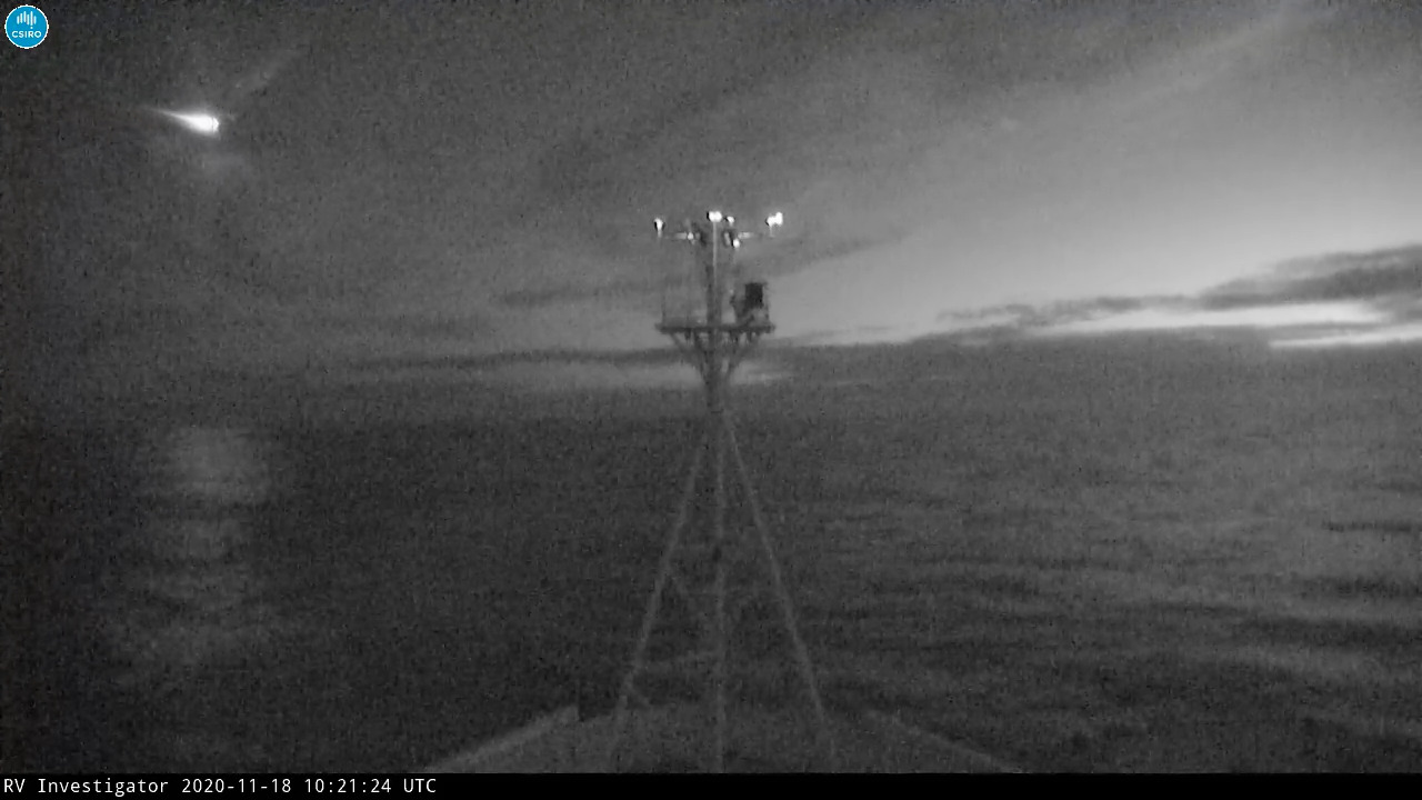 Il est rare que l'on arrive à filmer l'entrée d'un météore depuis un bateau. Crédits CSIRO.
