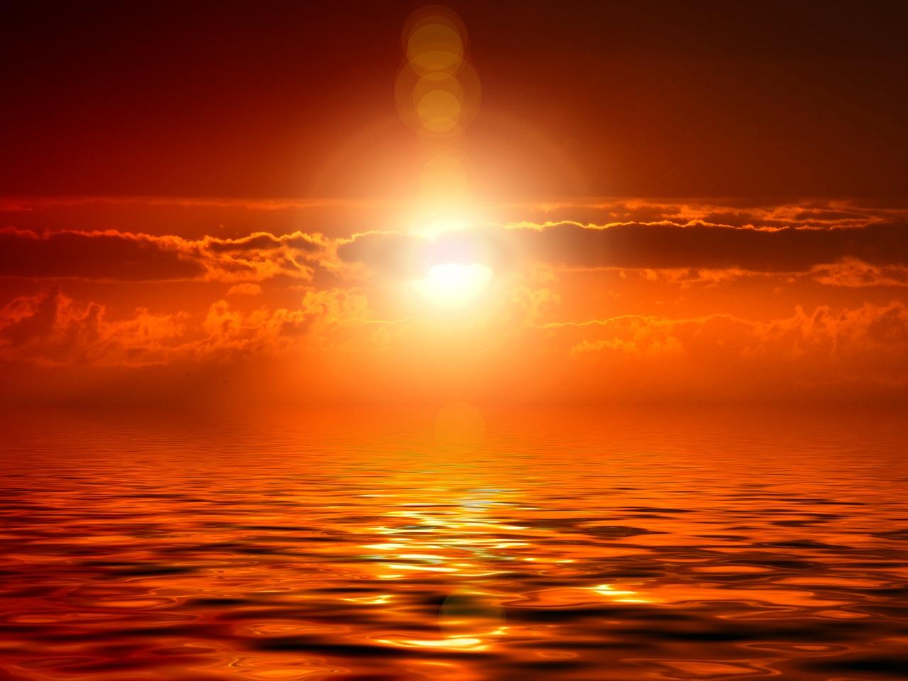 Le Soleil en train de mourir à l'horizon
