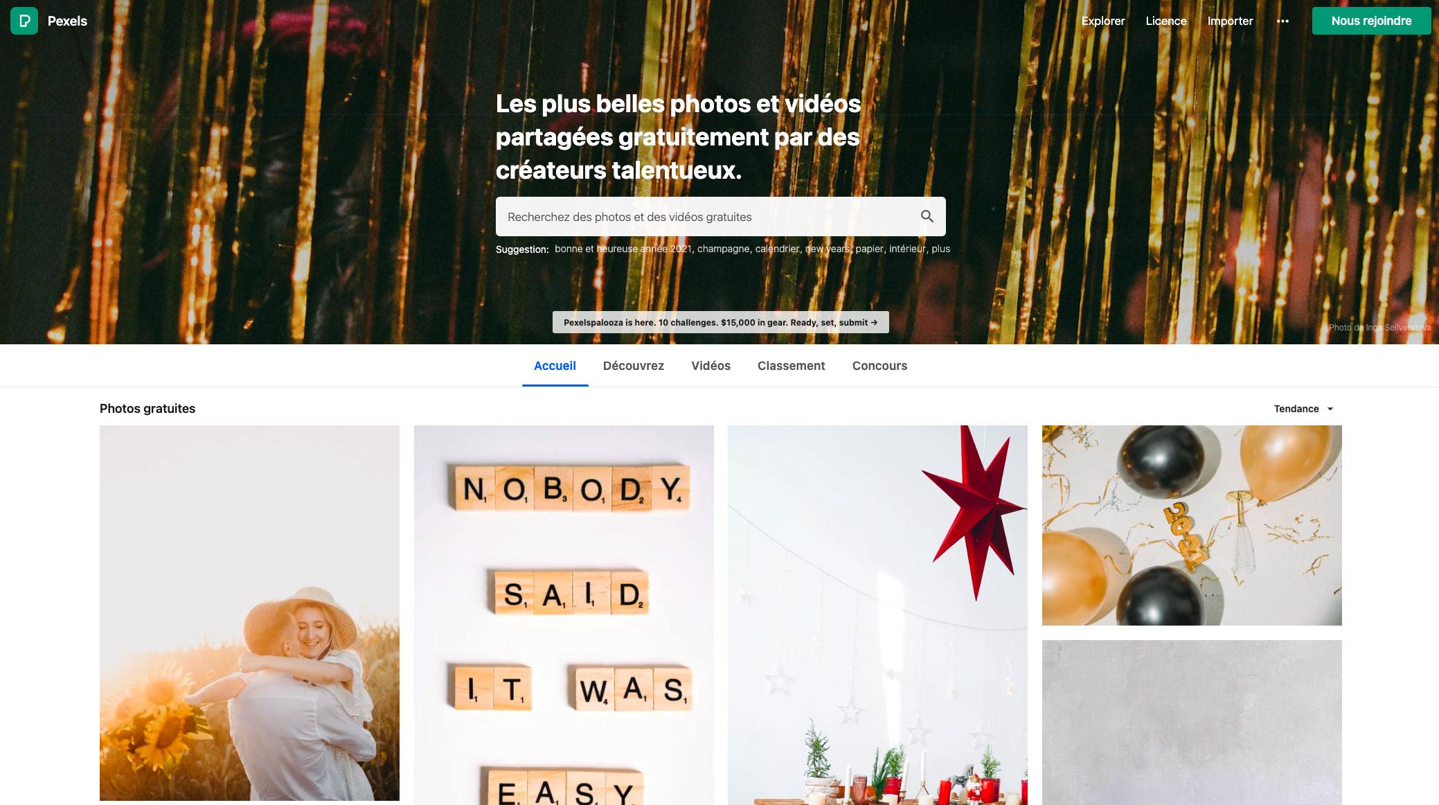La page d'accueil de Pexels