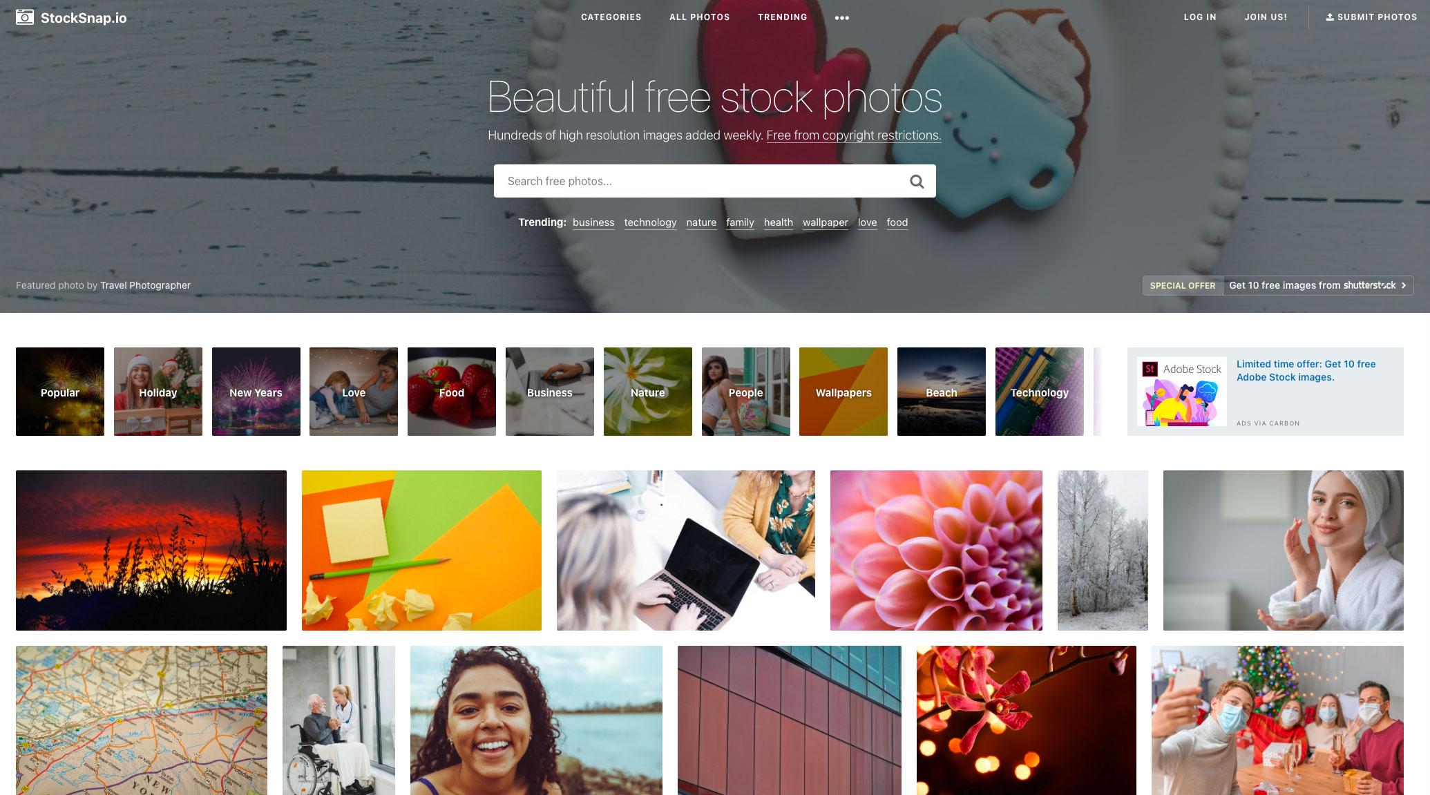 La page d'accueil de StockSnap.io