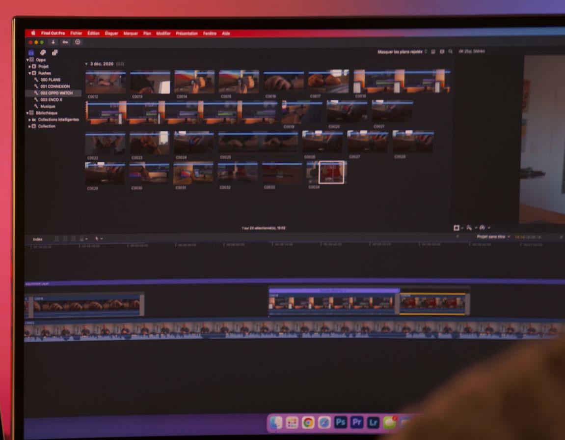 Final Cut Pro se montre aussi réactif que sur mon MacBook Pro 15 pouces full option