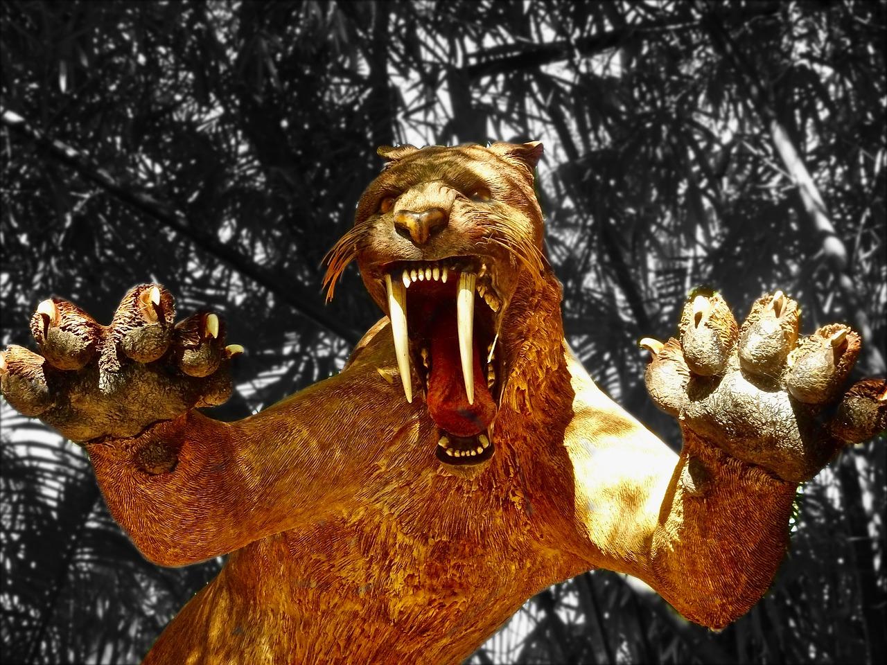 Une sculpture de tigre à dents de sabre