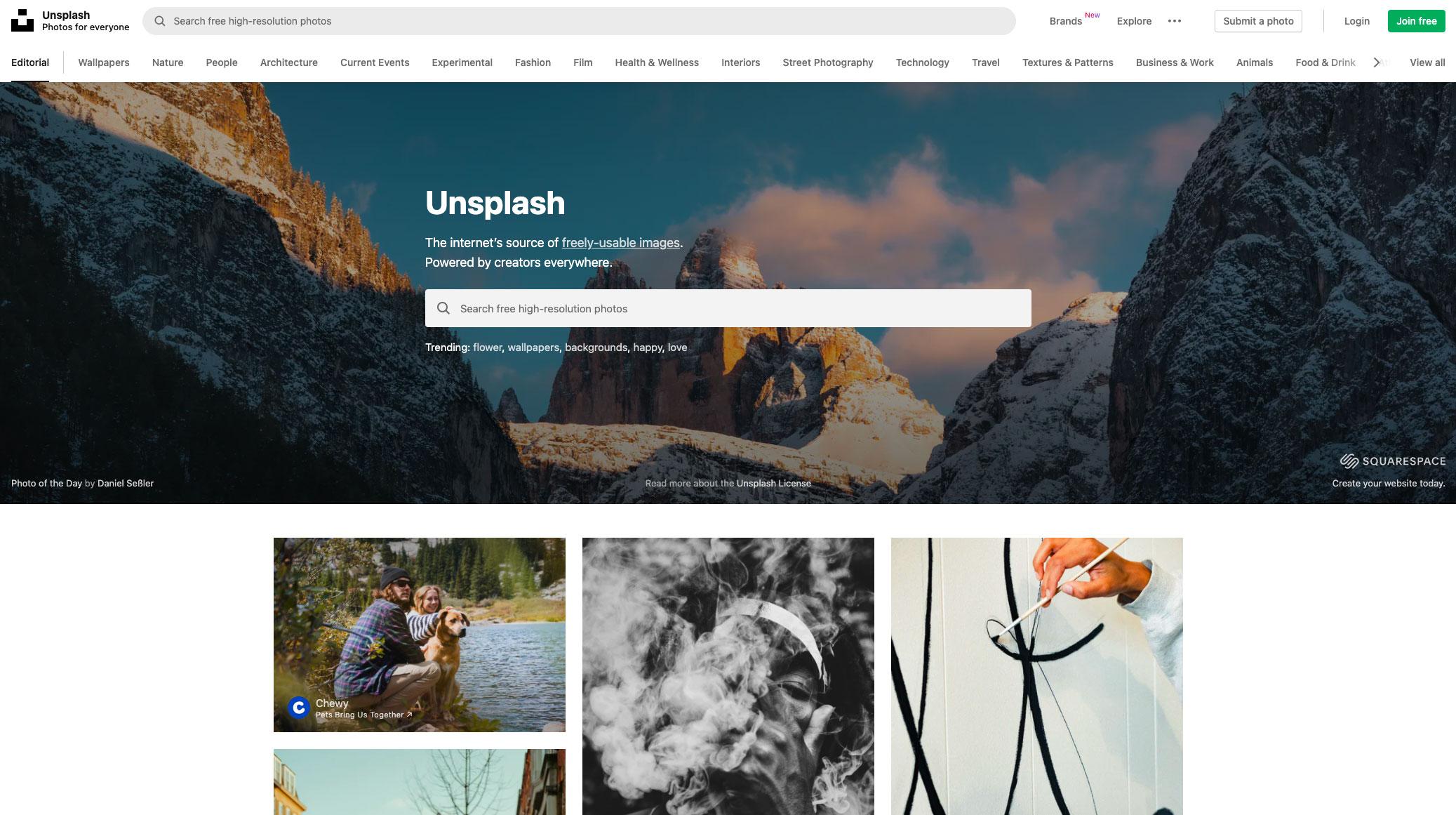 La page d'accueil de Unsplash
