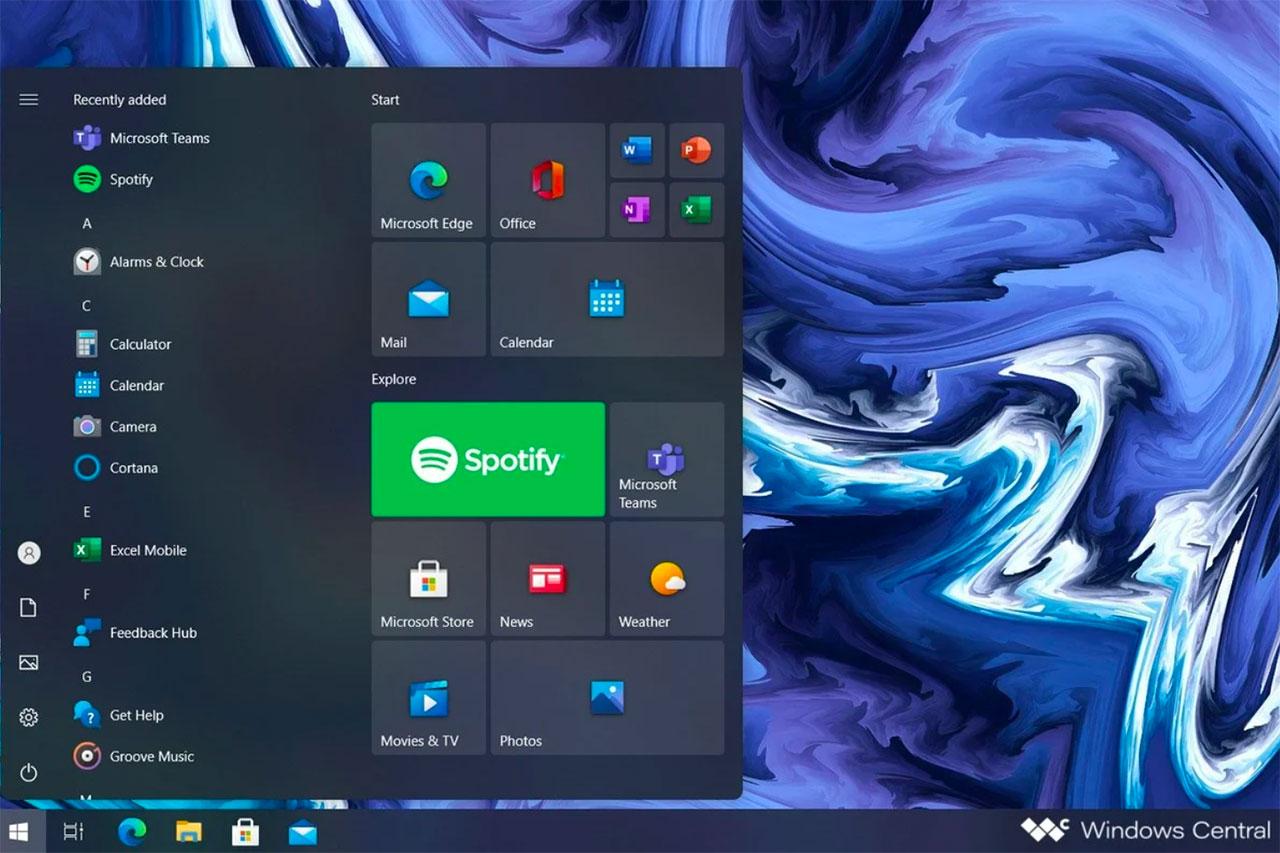 Le menu démarrer de Windows 10 Sun Valley recréé par Windows Central