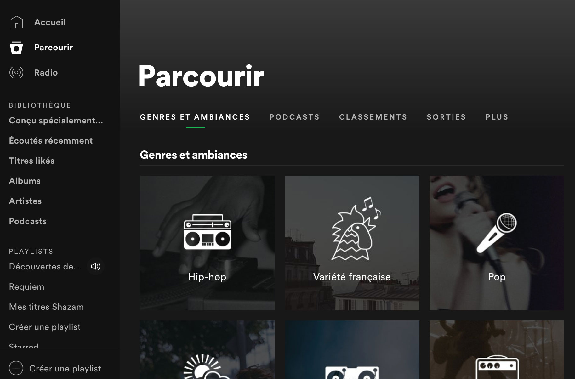 Spotify, c'est aussi un catalogue avec plein de playlists