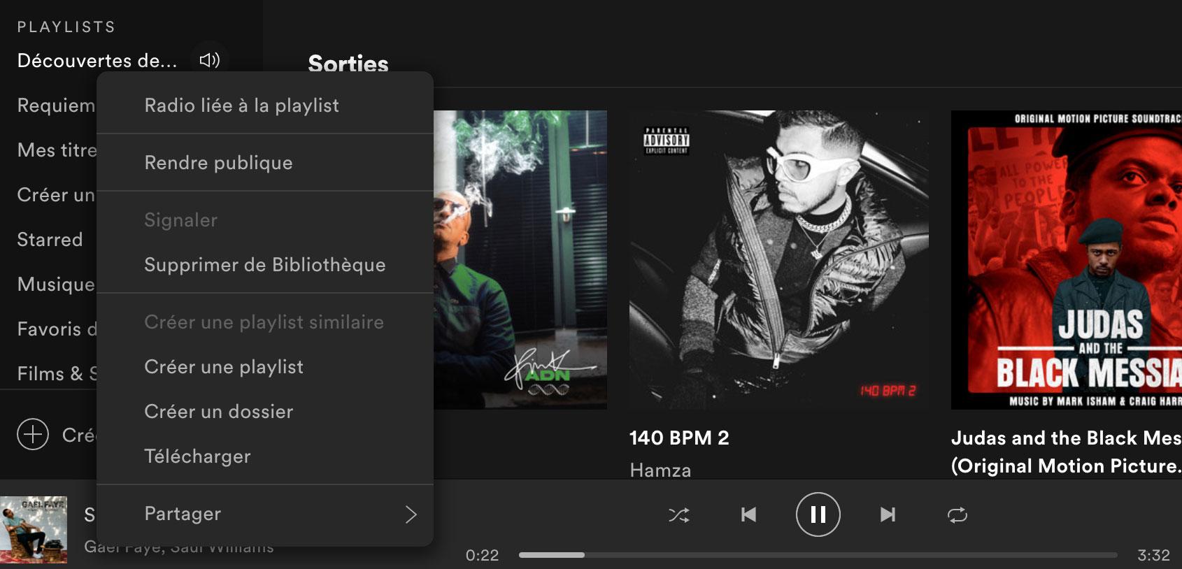 Spotify permet de créer des dossiers pour mieux organiser ses playlists.
