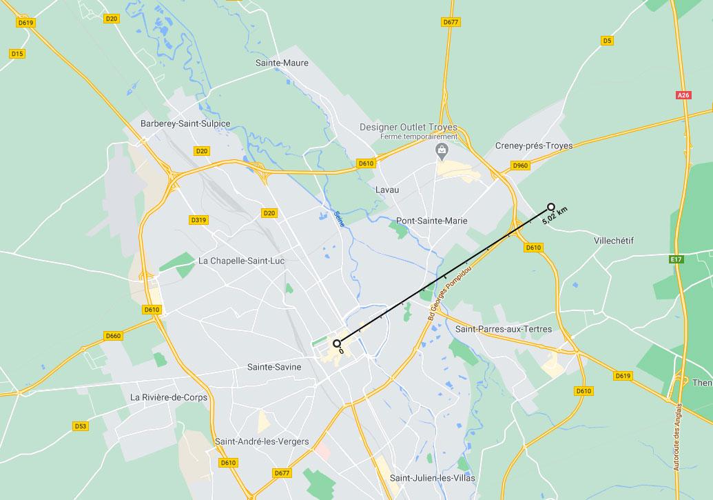 Google Maps permet de calculer des distances