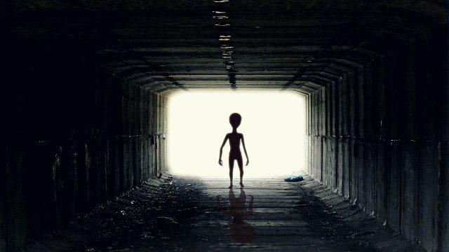 Un extraterrestre dans le couloir d'un vaisseau spatial