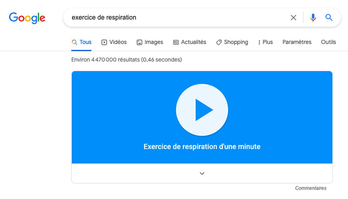 Google cache un exercice de respiration