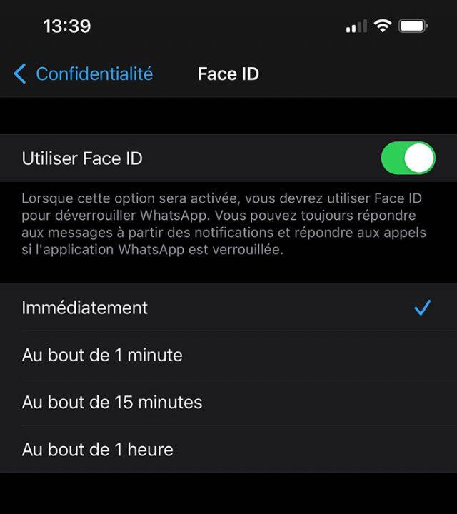 Face ID permet de sécuriser l'accès à son compte WhatsApp