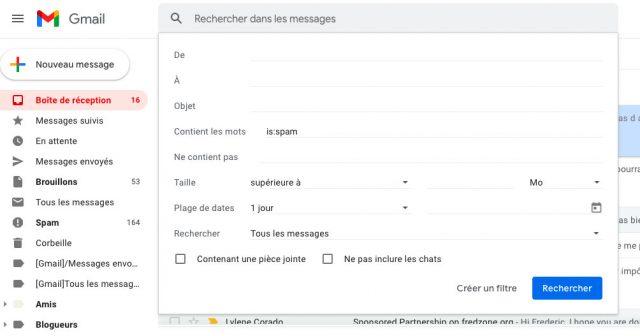 Avec le bon filtre, vous pouvez automatiser la suppression des spams