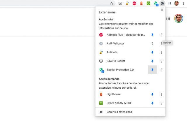 Sur Chrome, il faut commencer par épingler l'extension à la barre d'outils