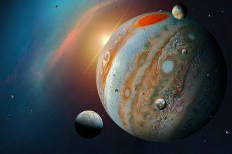 Une vue d'artiste de Jupiter et de ses lunes