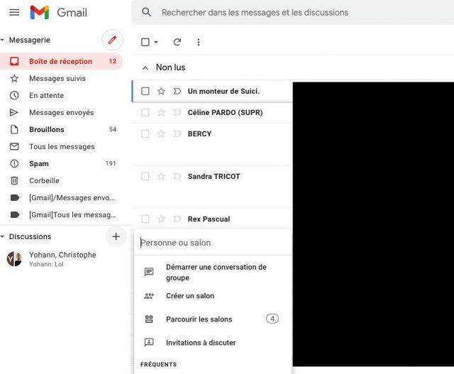 Une capture de Gmail, plus précisément de la colonne de gauche