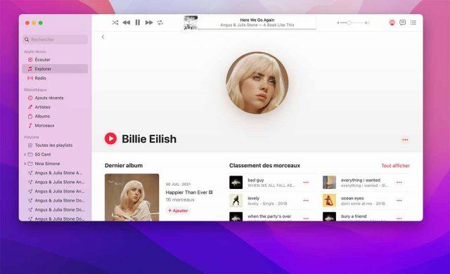 La fiche d'un artiste sur Apple Music