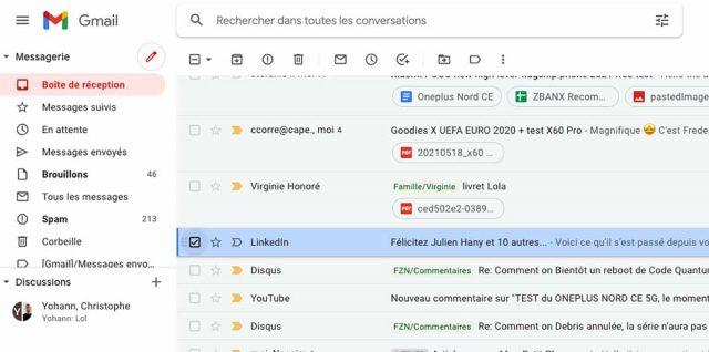 Une capture de Gmail
