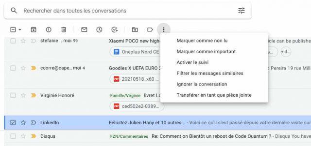 Une capture des filtres de Gmail