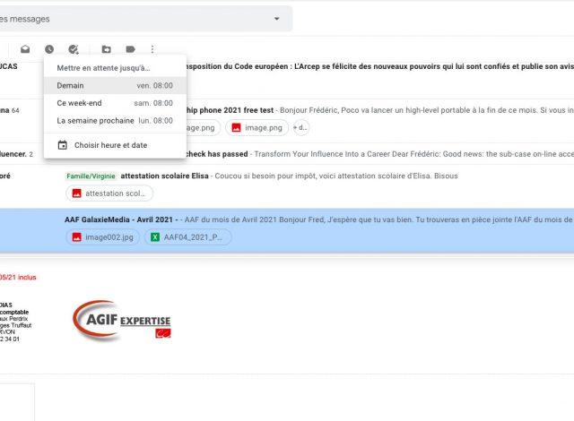 Gmail permet aussi de mettre en attente des courriels