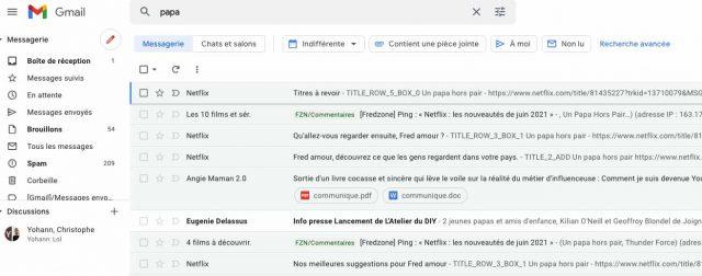 Des filtres associés à la recherche de Gmail
