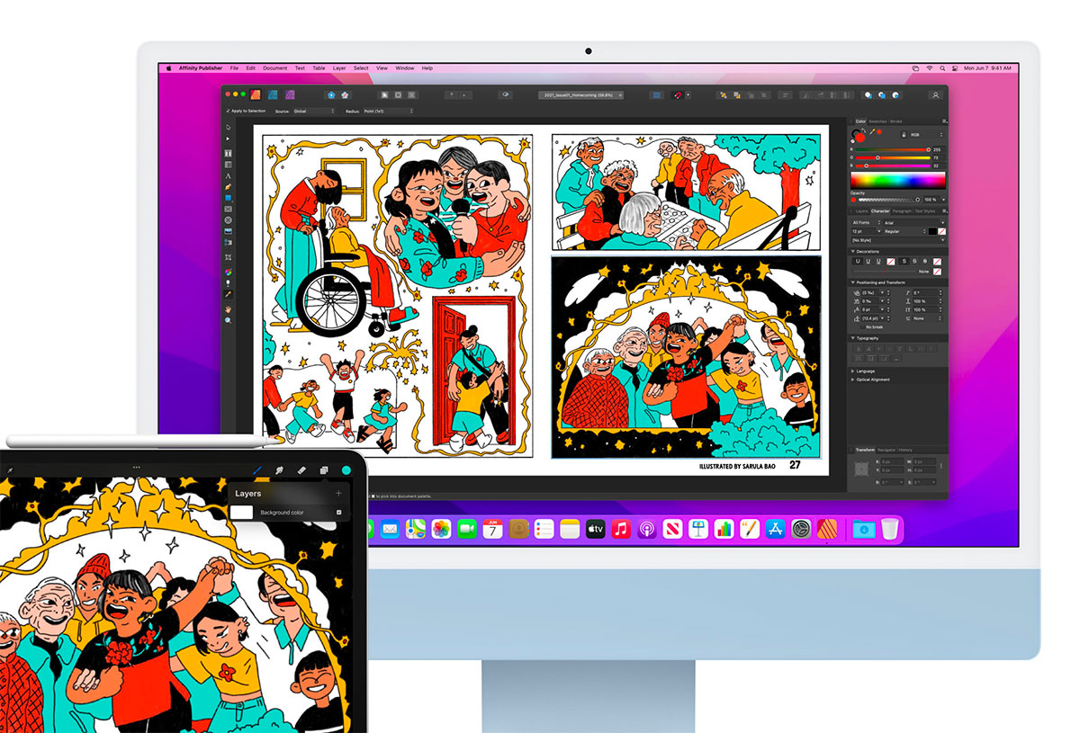 Une photo représentant un iMac fonctionnant sous macOS 12 Monterey