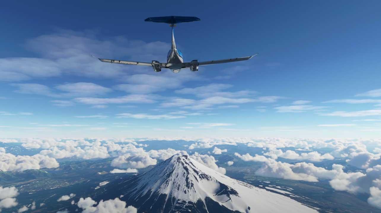 Flight Simulator, avec une scène se déroulant au-dessus du Mont Fuji