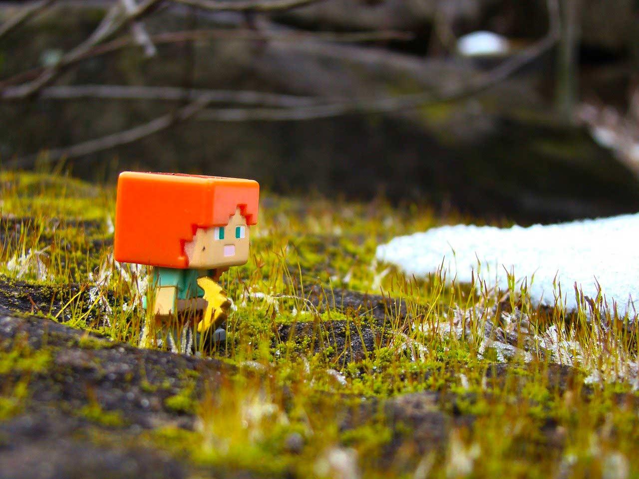 Une figurine de Minecraft dans la nature