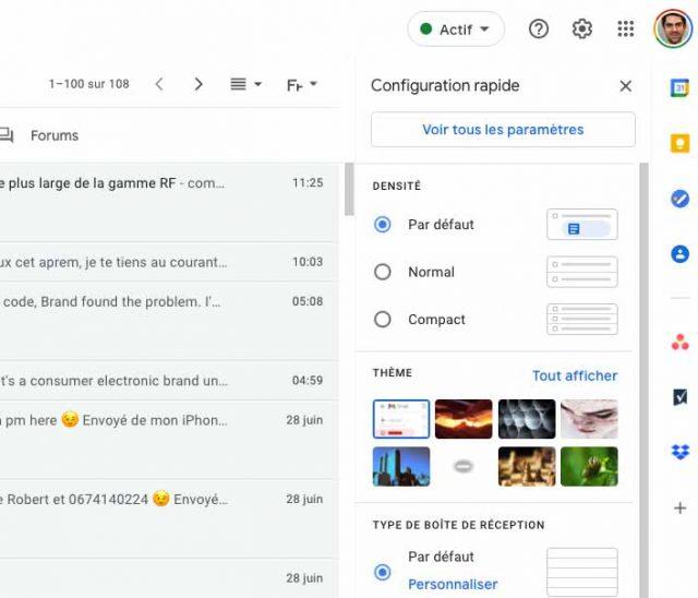 Une capture des onglets de Gmail