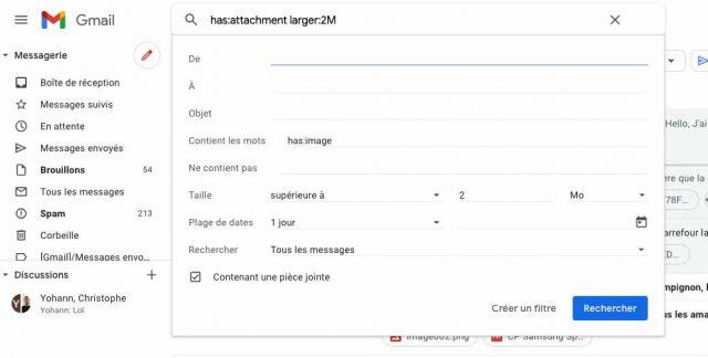 Une capture de la recherche avancée de Gmail