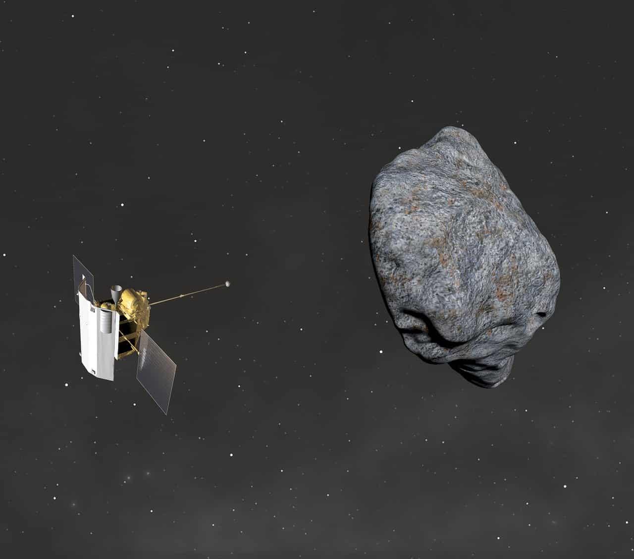 Un satellite autour d'un astéroïde