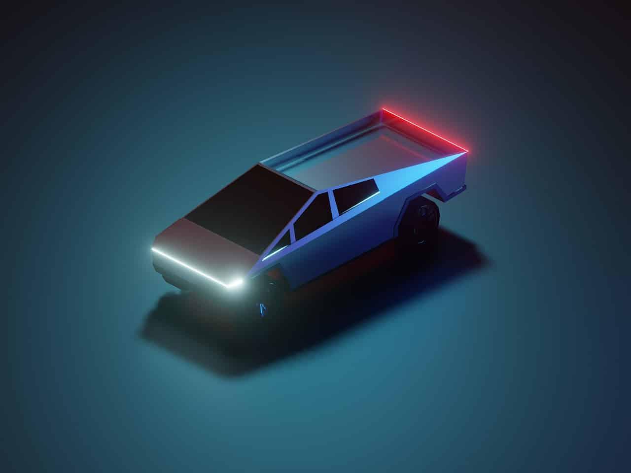 Une illustration représentant le Cybertruck de Tesla