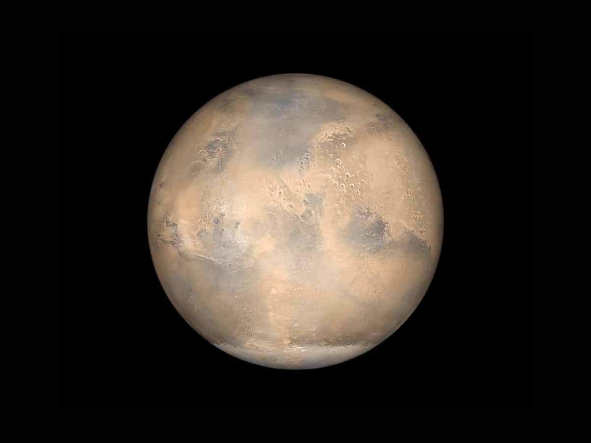 Mars, dans l'obscurité de l'espace