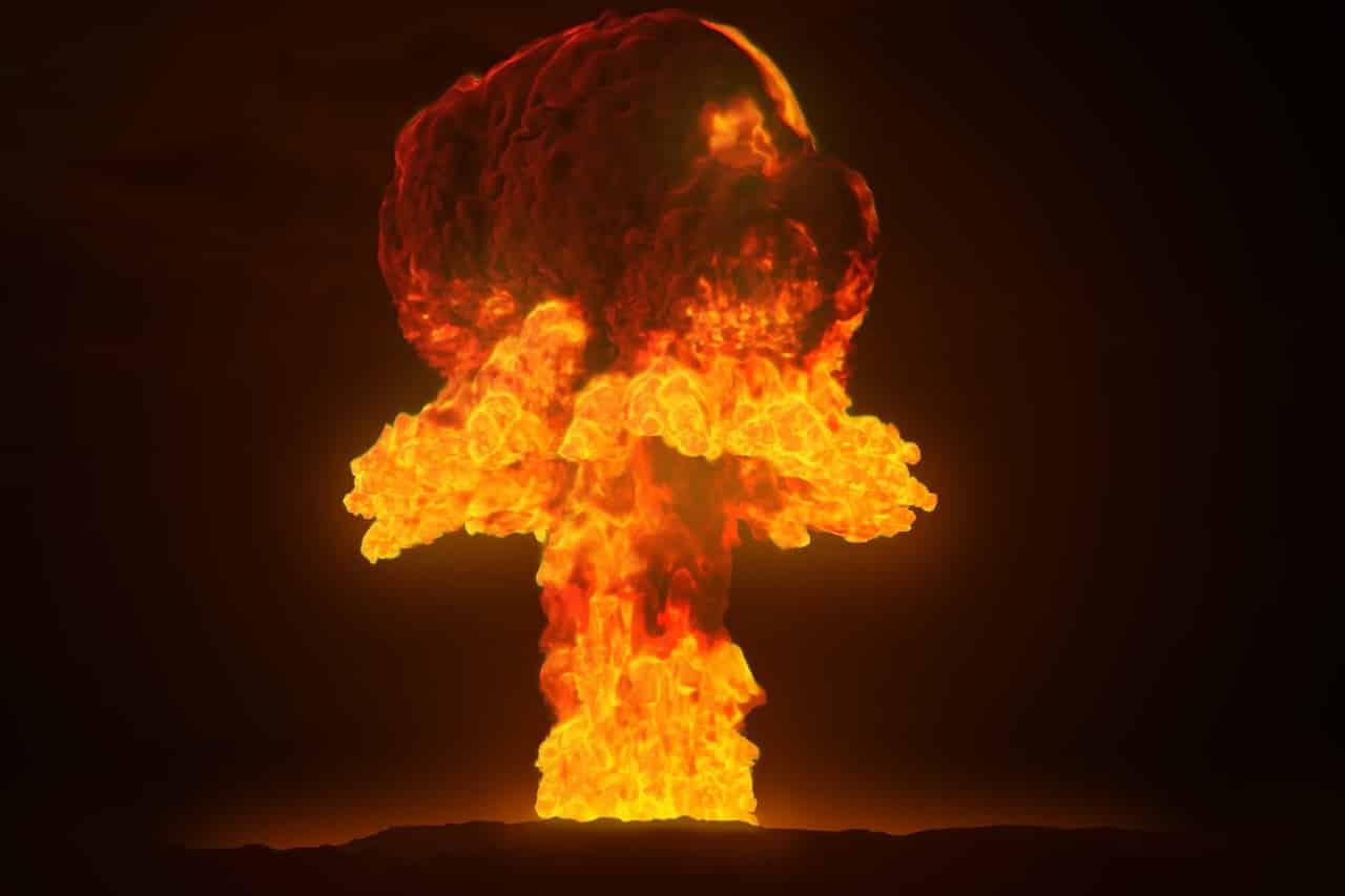 Une explosion nucléaire et le champignon qui en découle