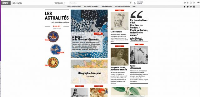 La page d'accueil de Gallica